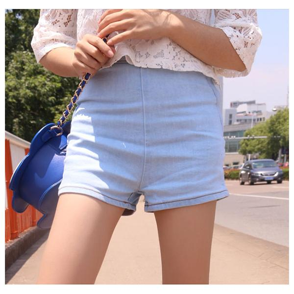 Woman's Summer High Waist Denim Shorts Slim Ripped Skinny Hot Tight A Side Button Pom Jeans Short - icu-sexy