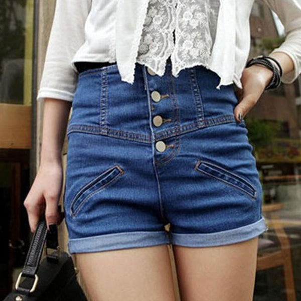 Womens Girl Denim High Waist Lady Shorts Jeans Pants Vintage Cuffed - ICU SEXY