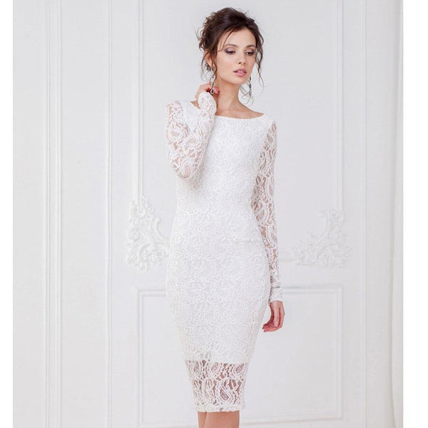 Women's Dress Off Shoulder Sexy Lace Embroidery Formal Dress - icu-sexy