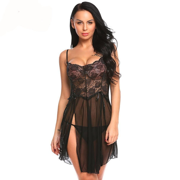 Women's Splicing Lace Slit Babydoll Lingerie Set - icu-sexy