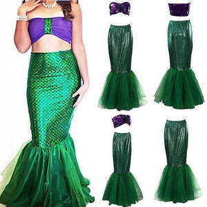 Womens Halloween Costume Set Cosplay Fancy Party Sexy Mermaid Long Maxi Dress - ICU SEXY