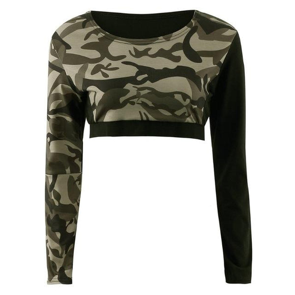 Women Long Sleeve Crop Tops Leggings Pants Camouflage Tracksuit - icu-sexy