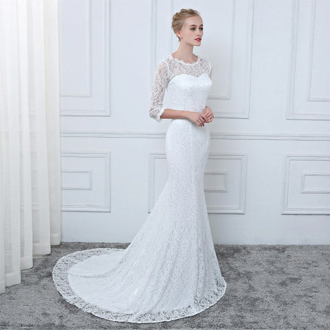 White Lace Mermaid Wedding Dresses 3/4 Sleeves Wedding Gown