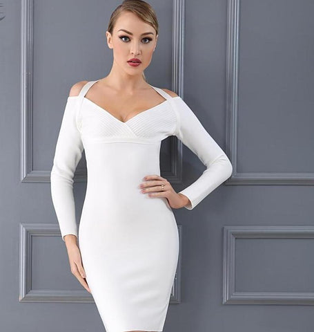 New Arrival Bandage Dress Chic White Black Halter Long Sleeve Sexy Women Celebrity Evening Party Dress Wholesale - icu-sexy