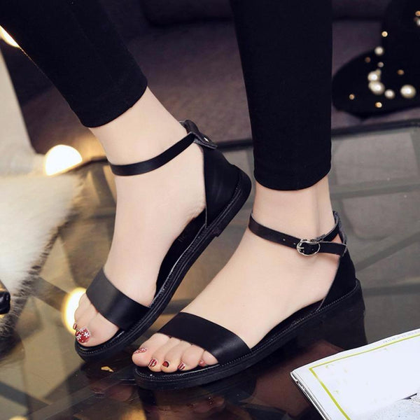 New Women Summer Sandals Fashion Solid Flat Sandals - icu-sexy