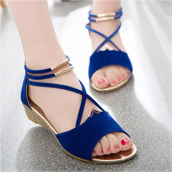 Women's Flat Gladiator Fashion Wedge Heel Sandals - icu-sexy