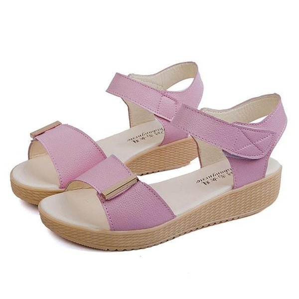 Pure Color Ladies Fashion PU Leather Sandals Beach Shoes - icu-sexy