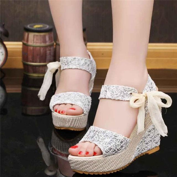 Women's Open Toe Wedge Sandals Floral highheeled Shoes Platform Sandals - ICU SEXY