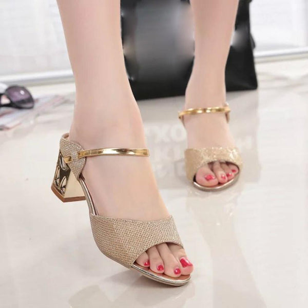 Women's Square Heel Woman Open Toe Fish Mouth Sandals - icu-sexy