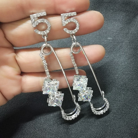 Number 5 Designer Style Dangle Earrings - ICU SEXY