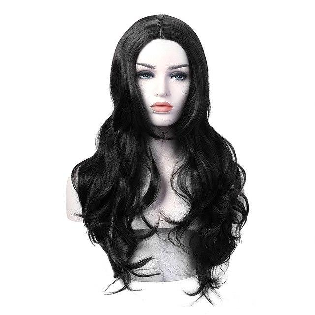Long Wavy Curly Wig Synthetic Hair Brown Black 3 Colors High Temperature Fiber - icu-sexy