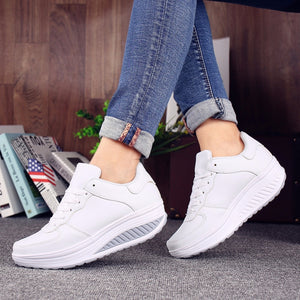 Women Sneakers White Platform Trainers Summer Wedges Casual Shoes Basket Femme Lace Up Zapatillas Deportivas Mujer - ICU SEXY