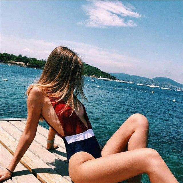 Women's Multicolor V Backless Swimsuit - icu-sexy