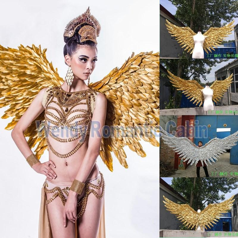 New Gold Angel Feather Winged Show Costume - icu-sexy