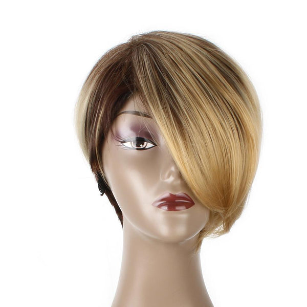 Straight Short Synthetic Hair Wig High Temperature Fiber Ombre Brown - icu-sexy