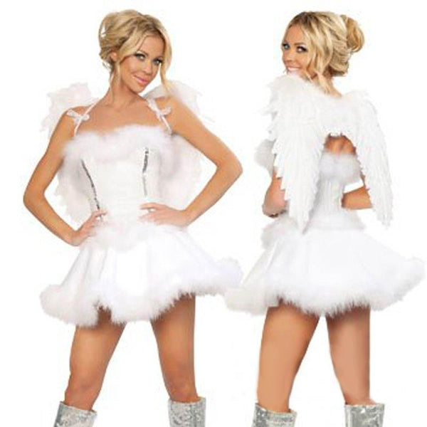 White Angel Light Wings Feather Costume - ICU SEXY