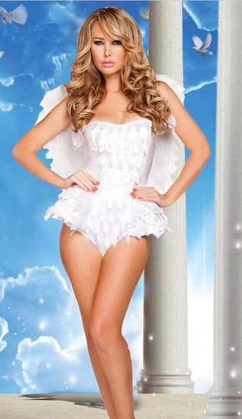 Strapless White Feather Wings Sexy White Angel Costume - icu-sexy
