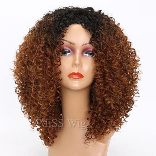 Short Wig Kinky Curly Wig Mixed Brown High Temperature Synthetic Wig - icu-sexy