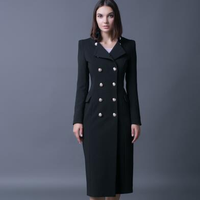 Ultra Long Double Breasted  Trench Coat in Black in Red Plus Sizes