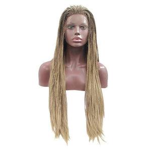 Natural 2 Tone Long Blonde Box Braided Glueless Front Wig - icu-sexy