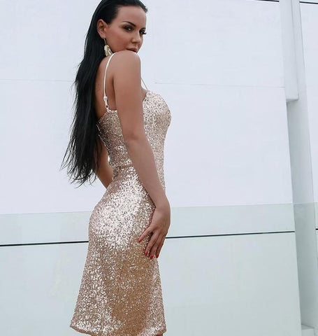 -Sexy Backless Dresses Glitter Sequin Luxury Cocktail Dress