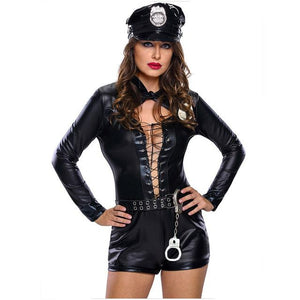 Women's Black Leather PVC Police Costume Dress Cosplay Plus Sizes - ICU SEXY