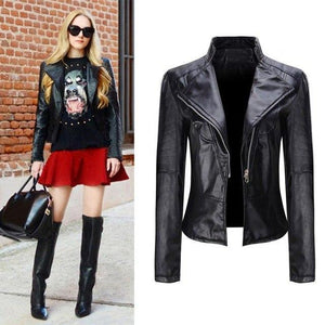 Winter Warm Women's Short Coat Leather Jacket Parka Zipper Tops Overcoat Outwear