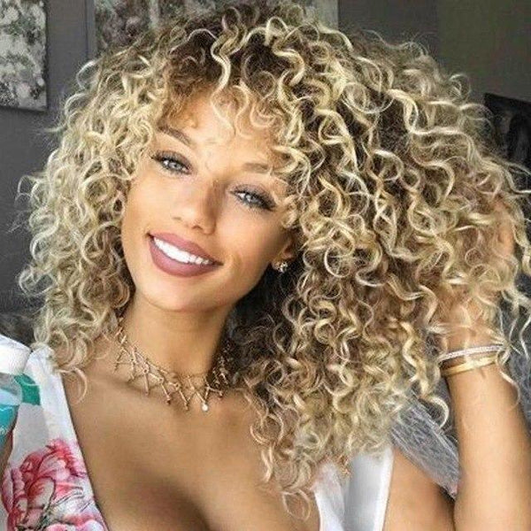 Blonde Kinky Curly Wig Heat Resistant with Baby Hair - icu-sexy