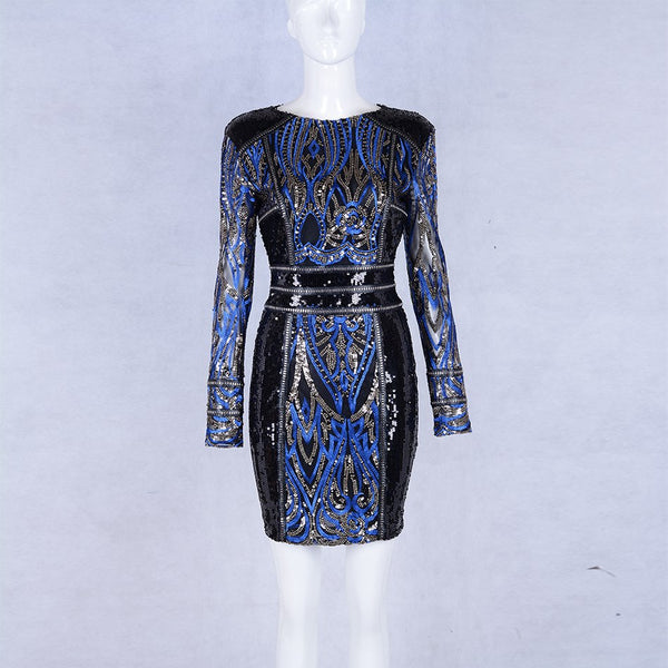Women's Celebrity Long Sleeve Celebrity Style Sequin Party Dress