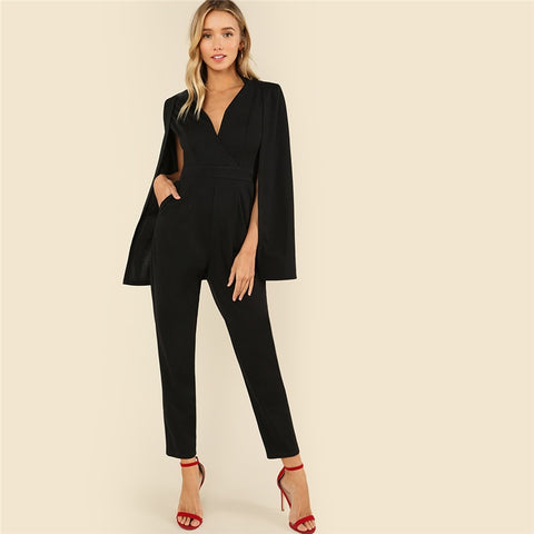 Elegant Wrap Plunging V Neck Cloak Long Sleeve Solid One Piece Jumpsuit - icu-sexy