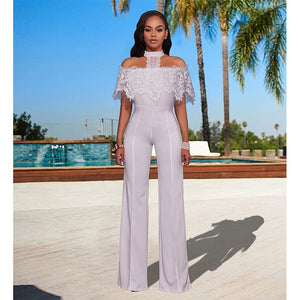 New Elegant Mesh Lace OffShoulder Solid Jumpsuit - ICU SEXY