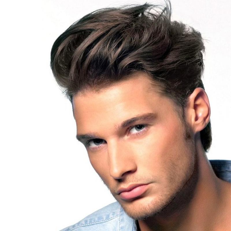 Brown Human Hair Men's Toupee  Wavy Swiss Lace Front Toupee - icu-sexy