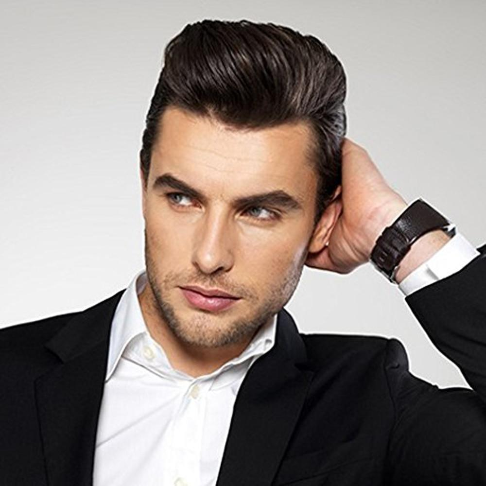 Men Straight Mono Net Swiss Lace Front Straight Human Hair Toupee - icu-sexy