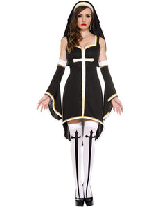 Women's Nun Cosplay Party Dress With Black Hood - icu-sexy