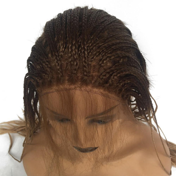 Brown Ombre Glueless Synthetic Lace Front Braid Wig with Baby Hair Heat Resistant - ICU SEXY