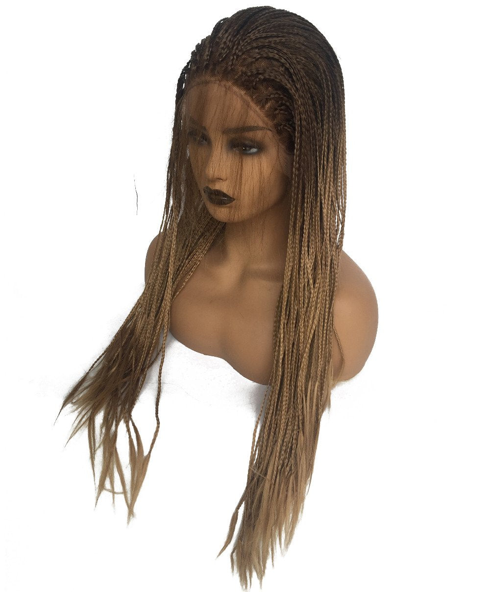 Brown Ombre Glueless Synthetic Lace Front Braid Wig with Baby Hair Heat Resistant - icu-sexy