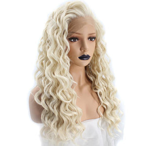 High Temperature Platinum Blonde Long Wavy Frontal Full Hair Wig - ICU SEXY