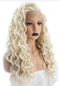 High Temperature Platinum Blonde Long Wavy Frontal Full Hair Wig - icu-sexy