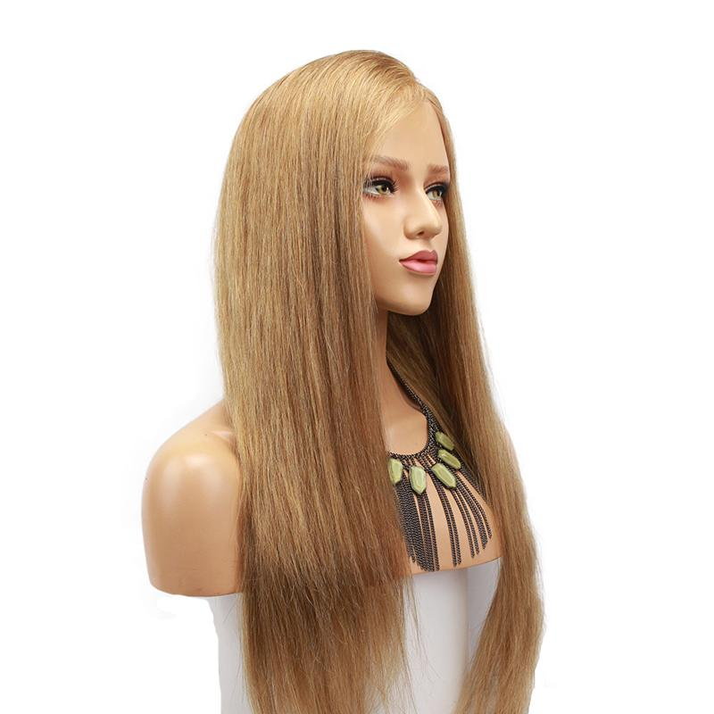 Silky Straight Human Hair Blonde Lace Front Wig With Side Part Baby Hair - icu-sexy