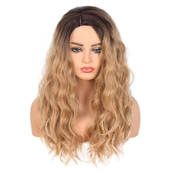 Women's Front Lace Human Hair Ombre Body Wave Gradation Golden Wig - icu-sexy
