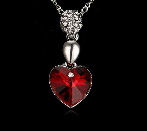 Exquisite Designer Style Platinum Plated Ruby Red Crystal Heart Pendant Necklace - ICU SEXY