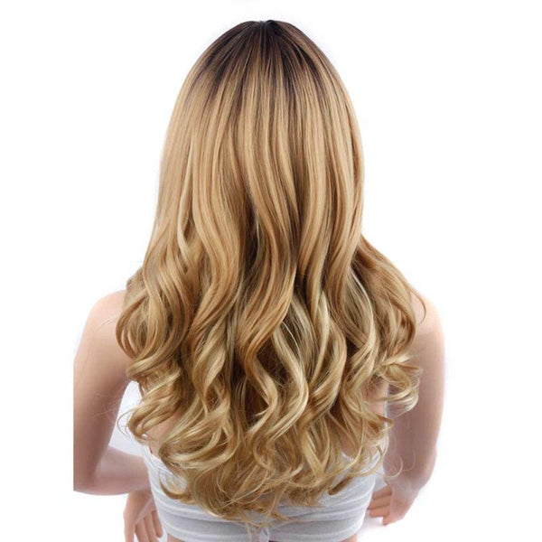 Womens Wavy Middle Parted 2 Tone Blonde Wig With Baby Hair - icu-sexy