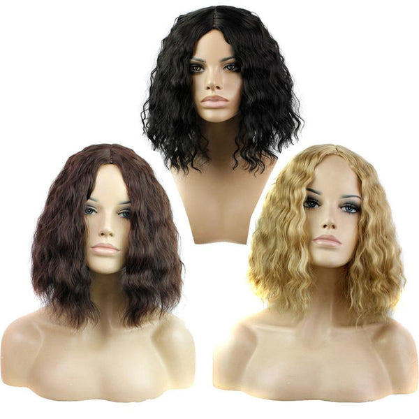 Women's Front Lace Elegant Bob Style Curly Hair Wig in 3 Shades - icu-sexy