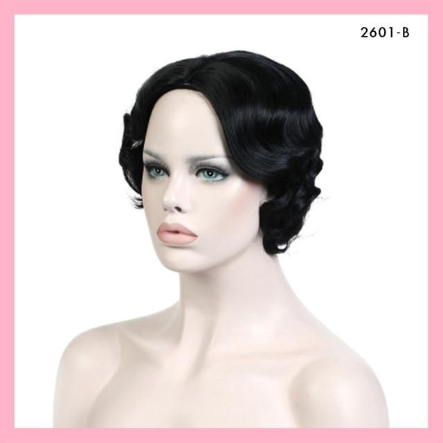 Short Pin Wave Wigs Black Hair Synthetic Wig Heat Resistant - icu-sexy