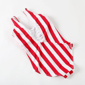 Women's Stylish Red Striped Push Up One Piece Swimsuit - icu-sexy
