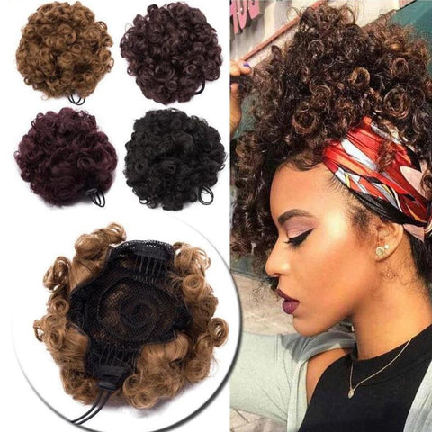 Kinky Curly Puffy Bob Updo Bun Chignon Hair Extensions in 12 Colors - ICU SEXY