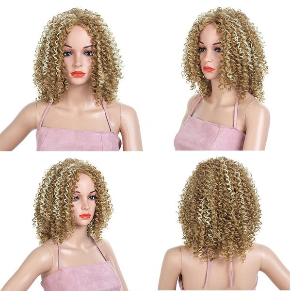 Natural Blonde Highlighted Spiral Curl Front Lace Lace Wig - icu-sexy