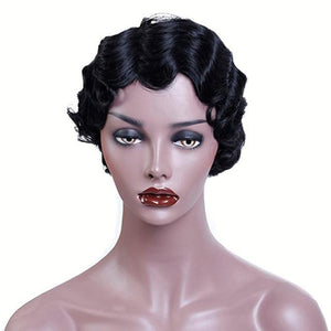 Women's Stylish Retro Short Natural Black Wavy Wig - icu-sexy