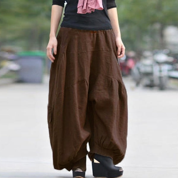 Women's High Elastic Waist Lantern Solid Cotton Wide Leg Cargo Pocket Trousers - icu-sexy
