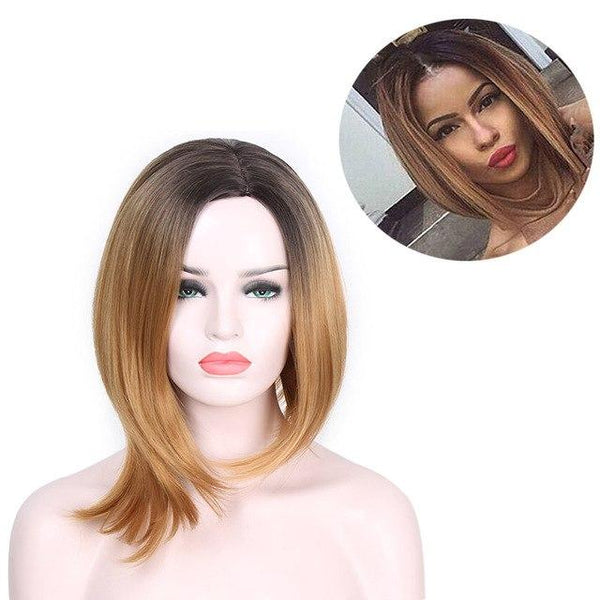Short Straight Brown Hair Dark Root Ombre High Tempreture Synthetic Wig - icu-sexy